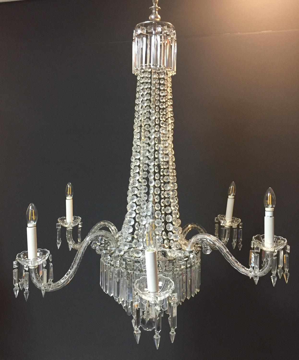 A 19th century tent and waterfall chandelier