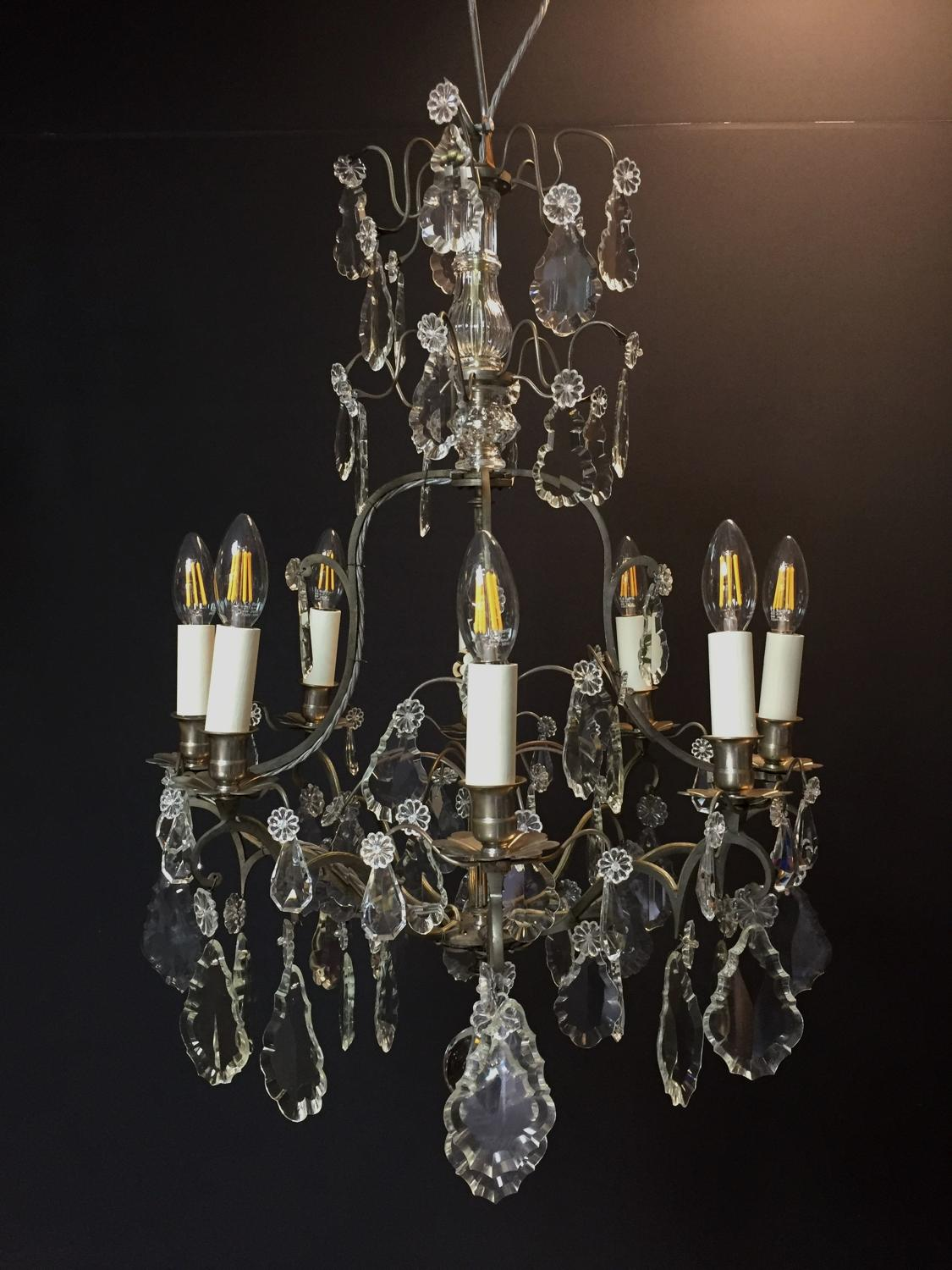A late 19th century silvered chandelier