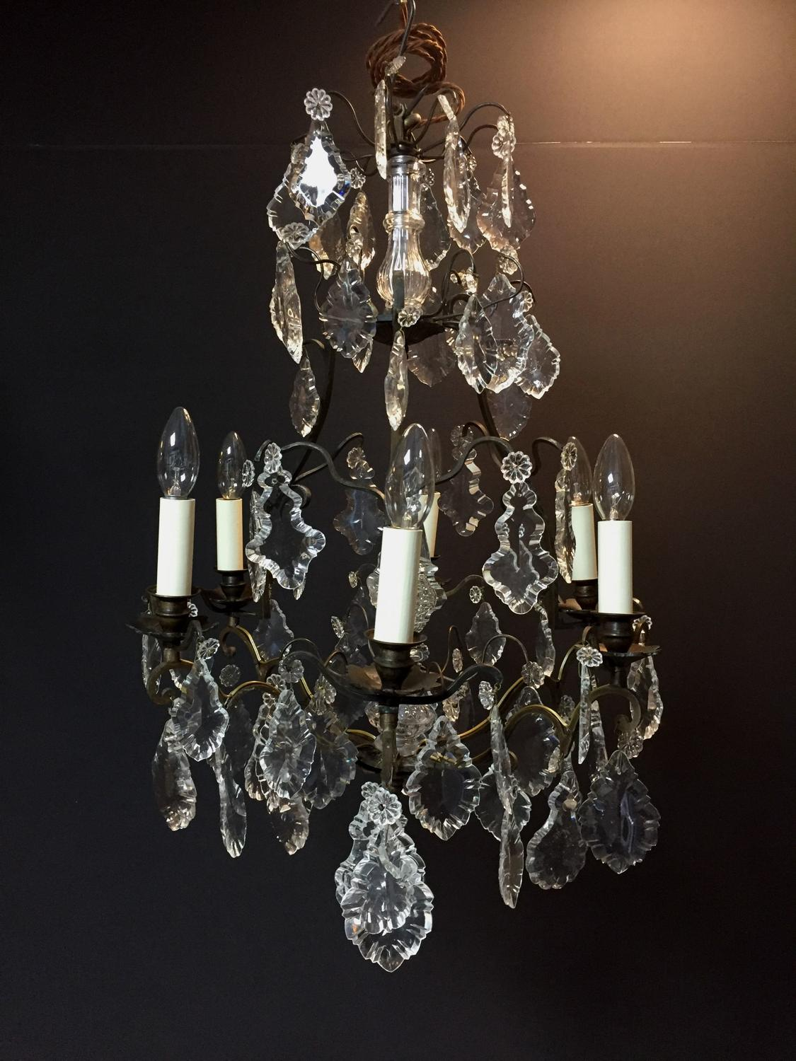 A dark bronze late 19th century chandelier