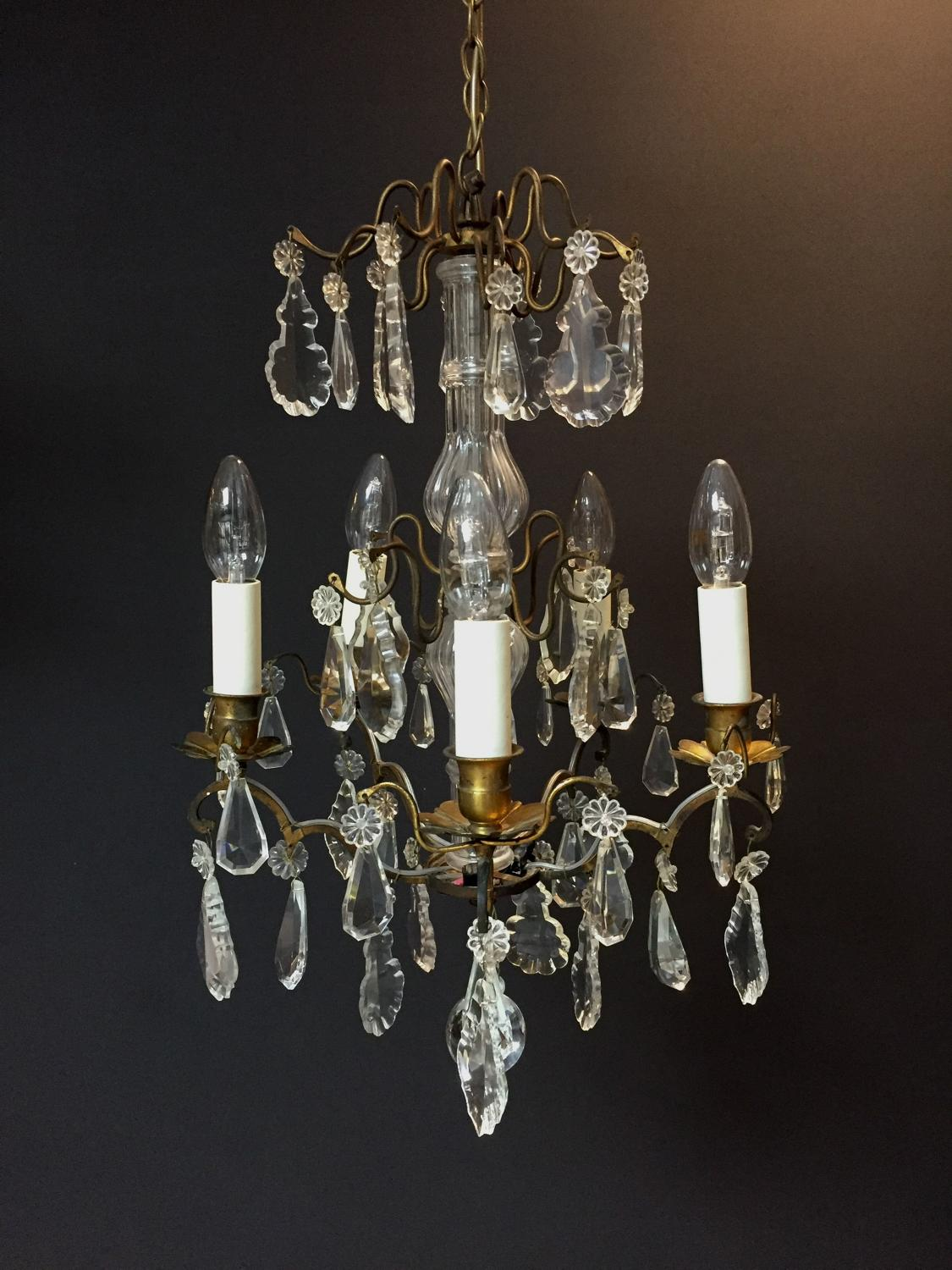 A small gilt-brass and cut glass chandelier