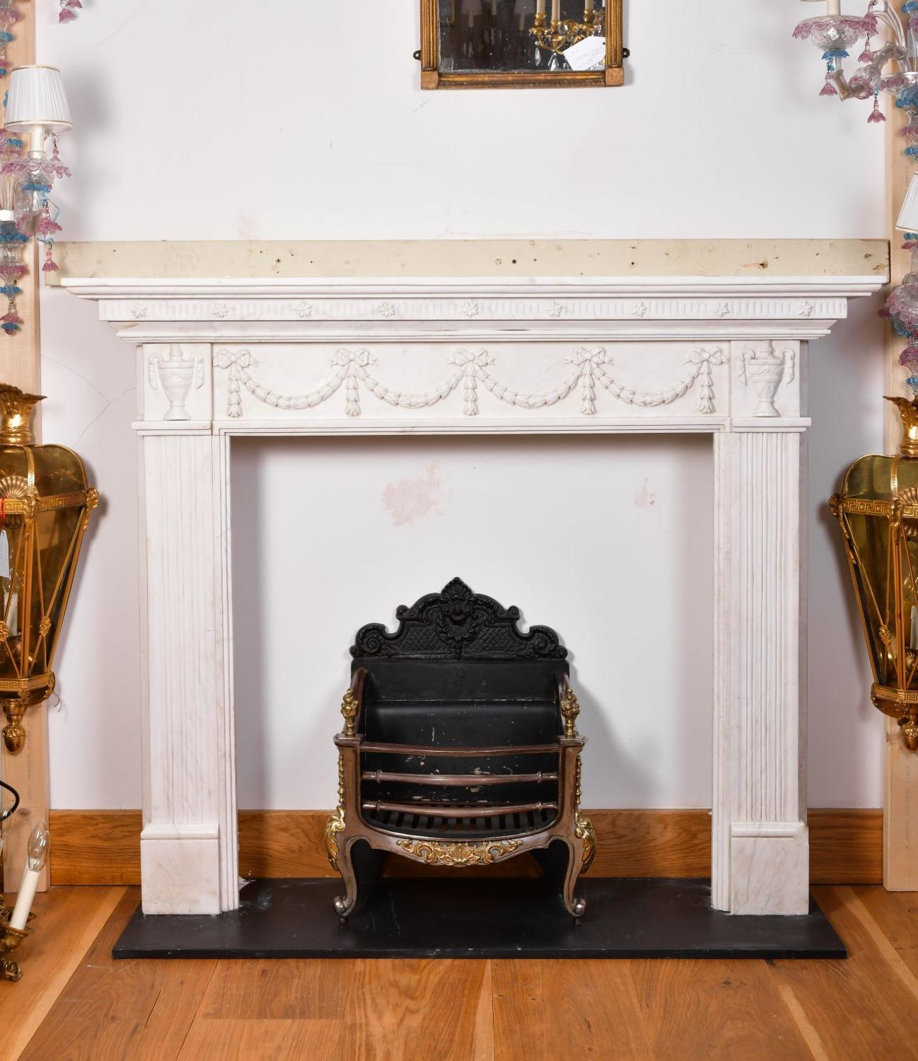 An Adam stylewhite marble fireplace