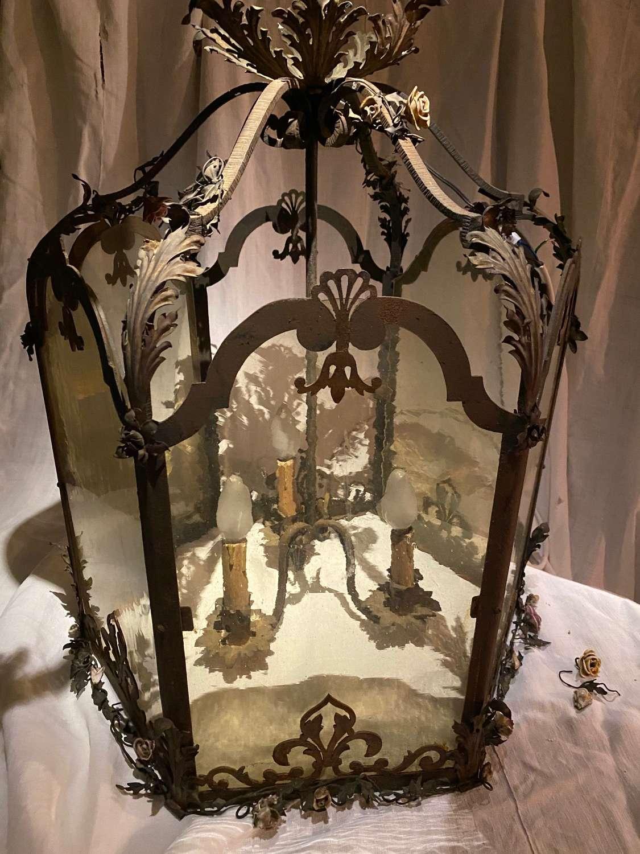 A Venetian six sided forged lantern.
