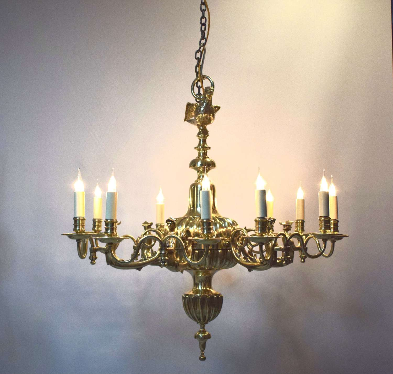 Robin hood. A fine Dutch brass chandelier