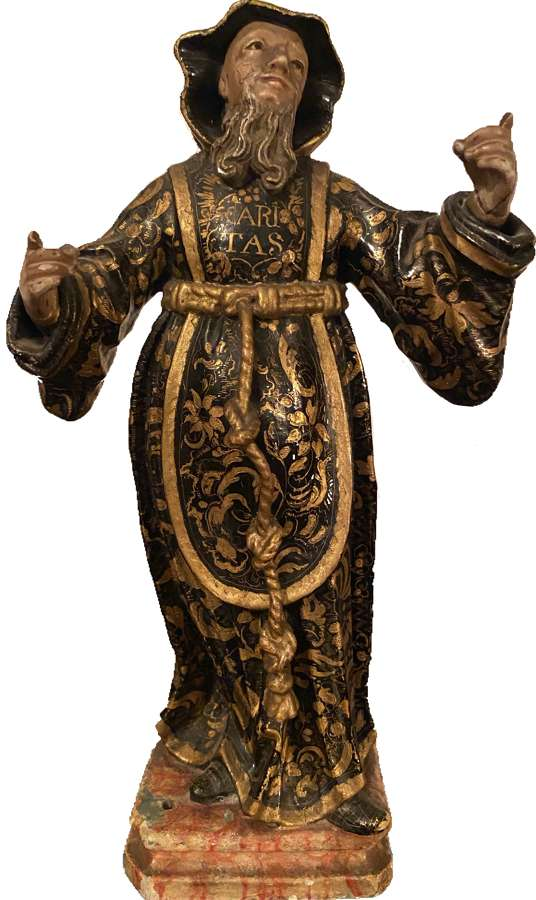A polychrome figure of St Anthon