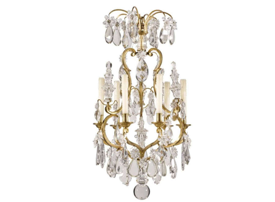 Louis XV style gilt-brass and glass six-light chandelier,