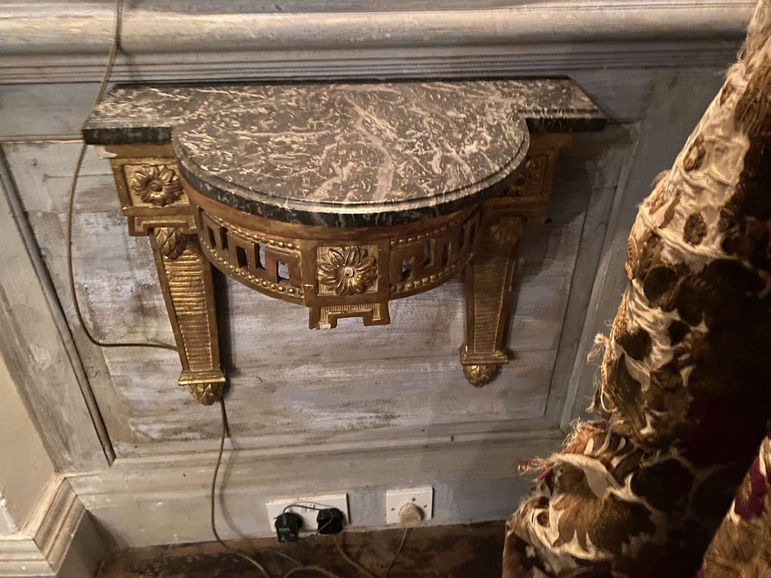 A French Louis Philippe guilt wood and water gilded consul table