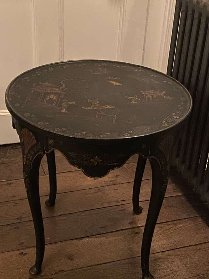 A japanned Black lacquer chinoiserie low side table