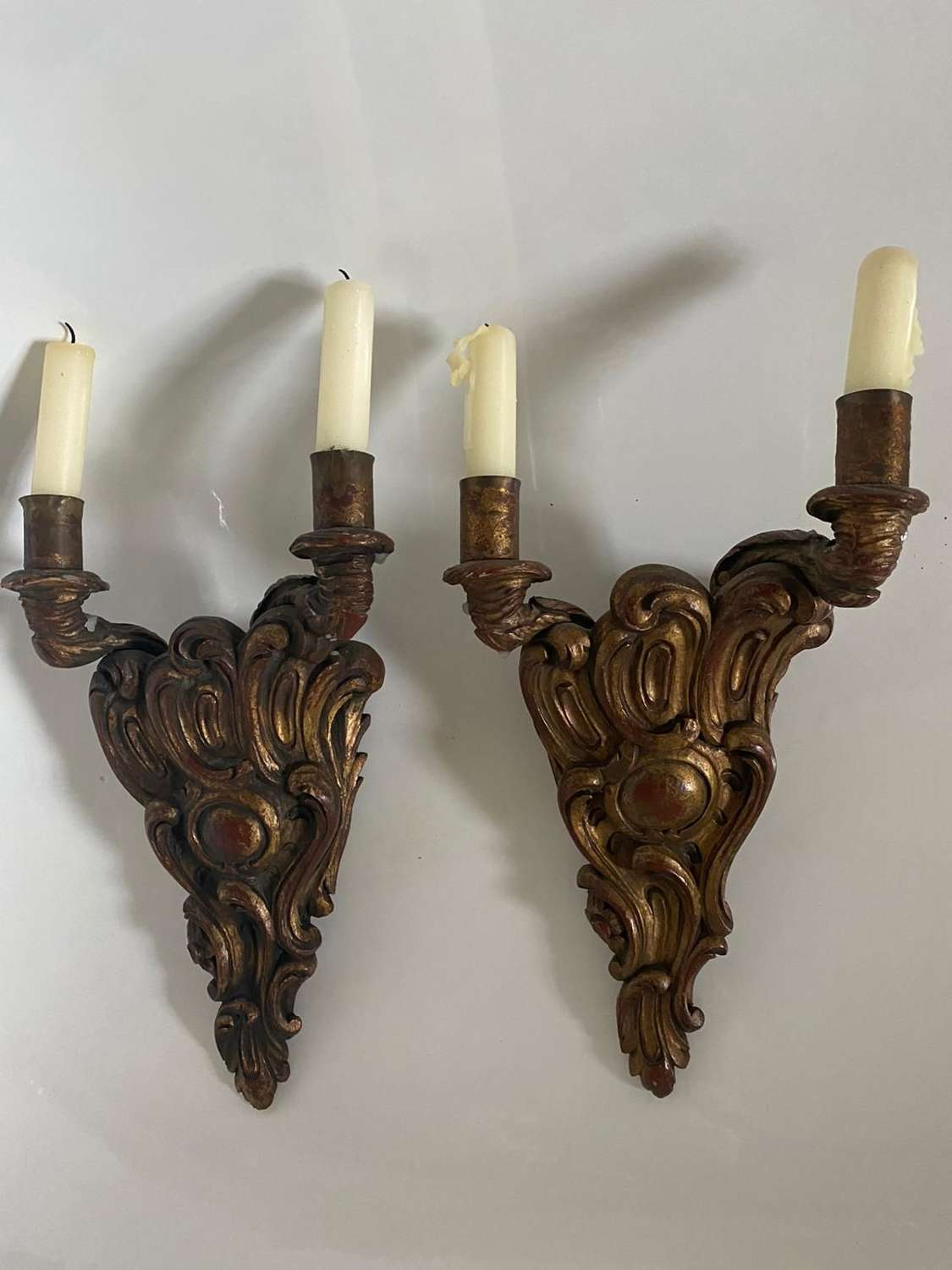 A pair of carved wood 18th century style  Italian rococo wall lights