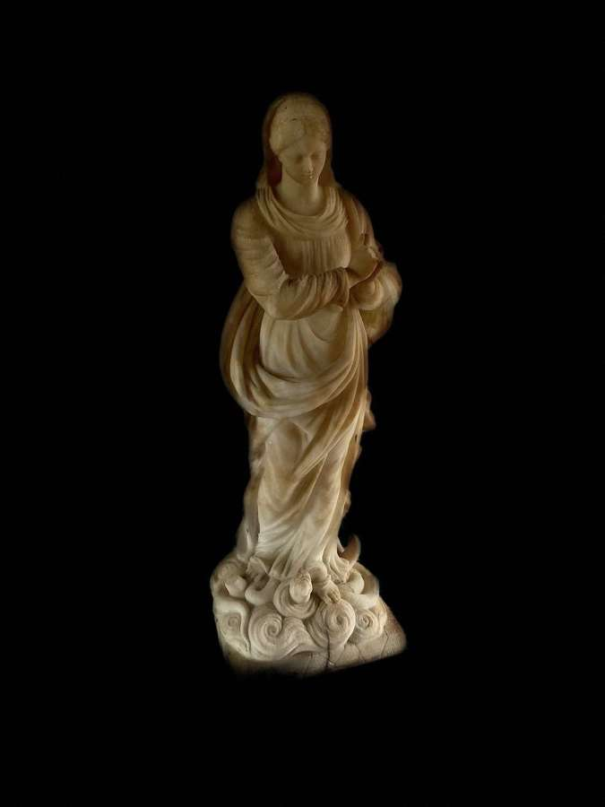 Early 19th century Alabaster figure of the virgin Mary