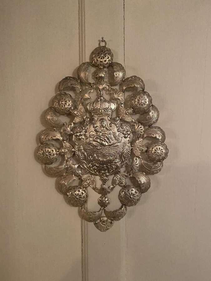 A fine filigree white metal Italian keep safe