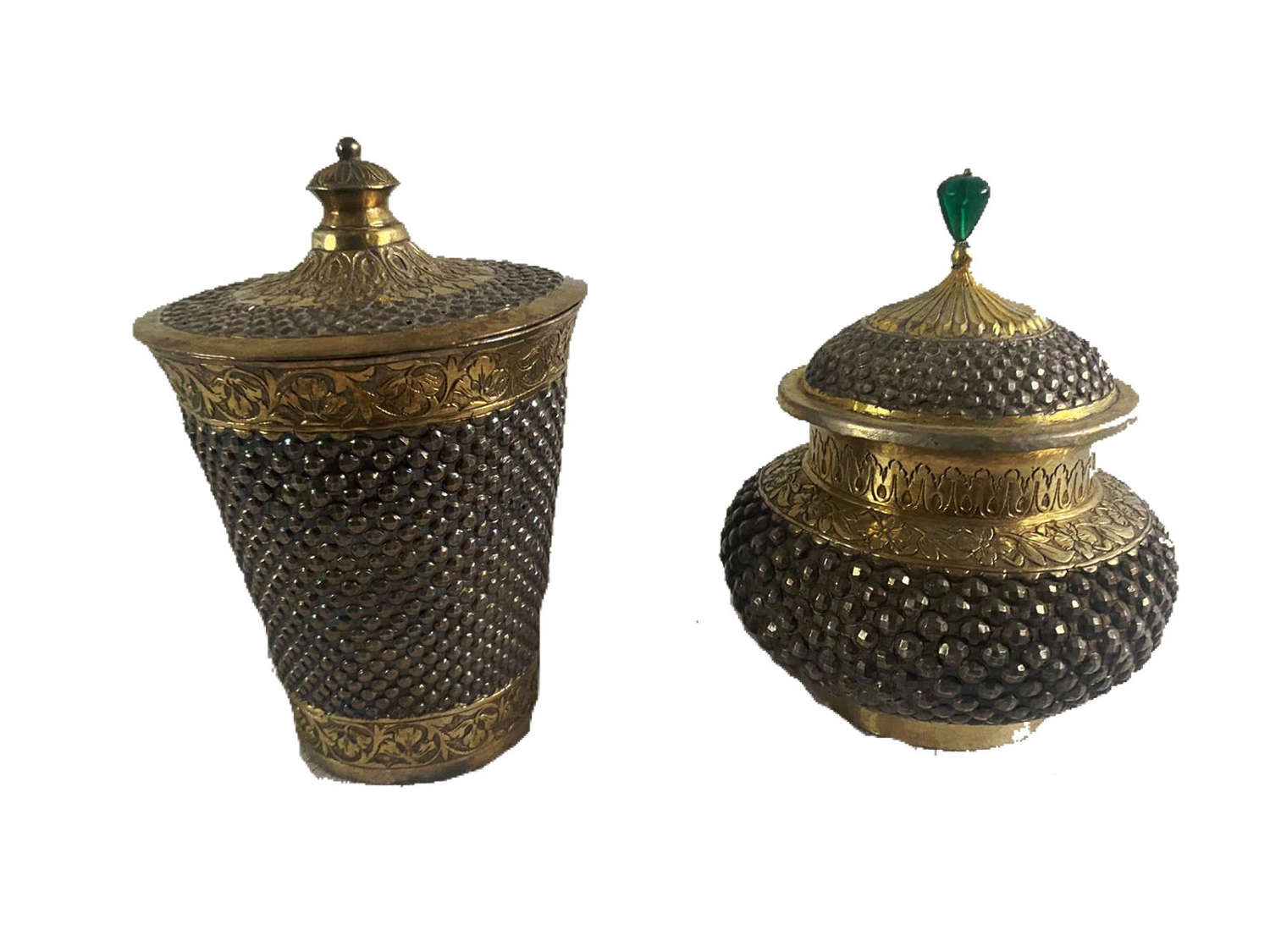 Indian Silver beaker with lid and an Indian silver pot with doomed lid