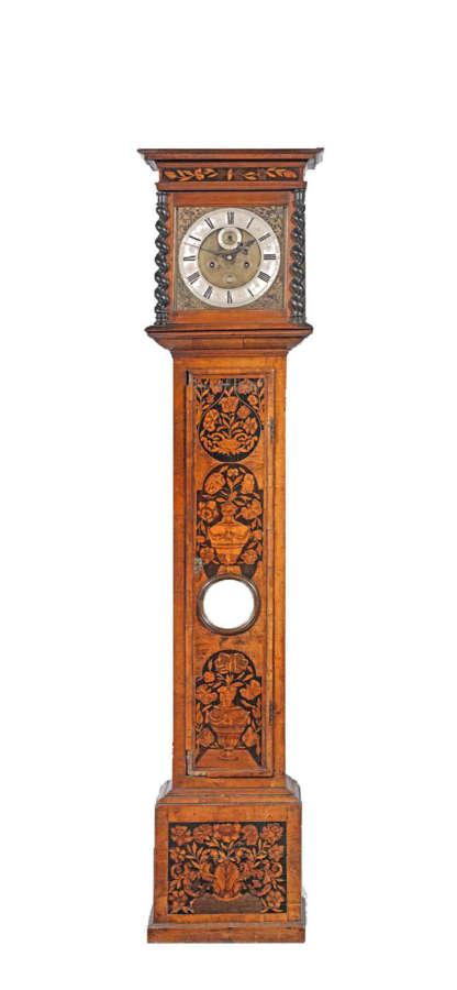 An 18th century walnut marquetry clock, by Tudman, London