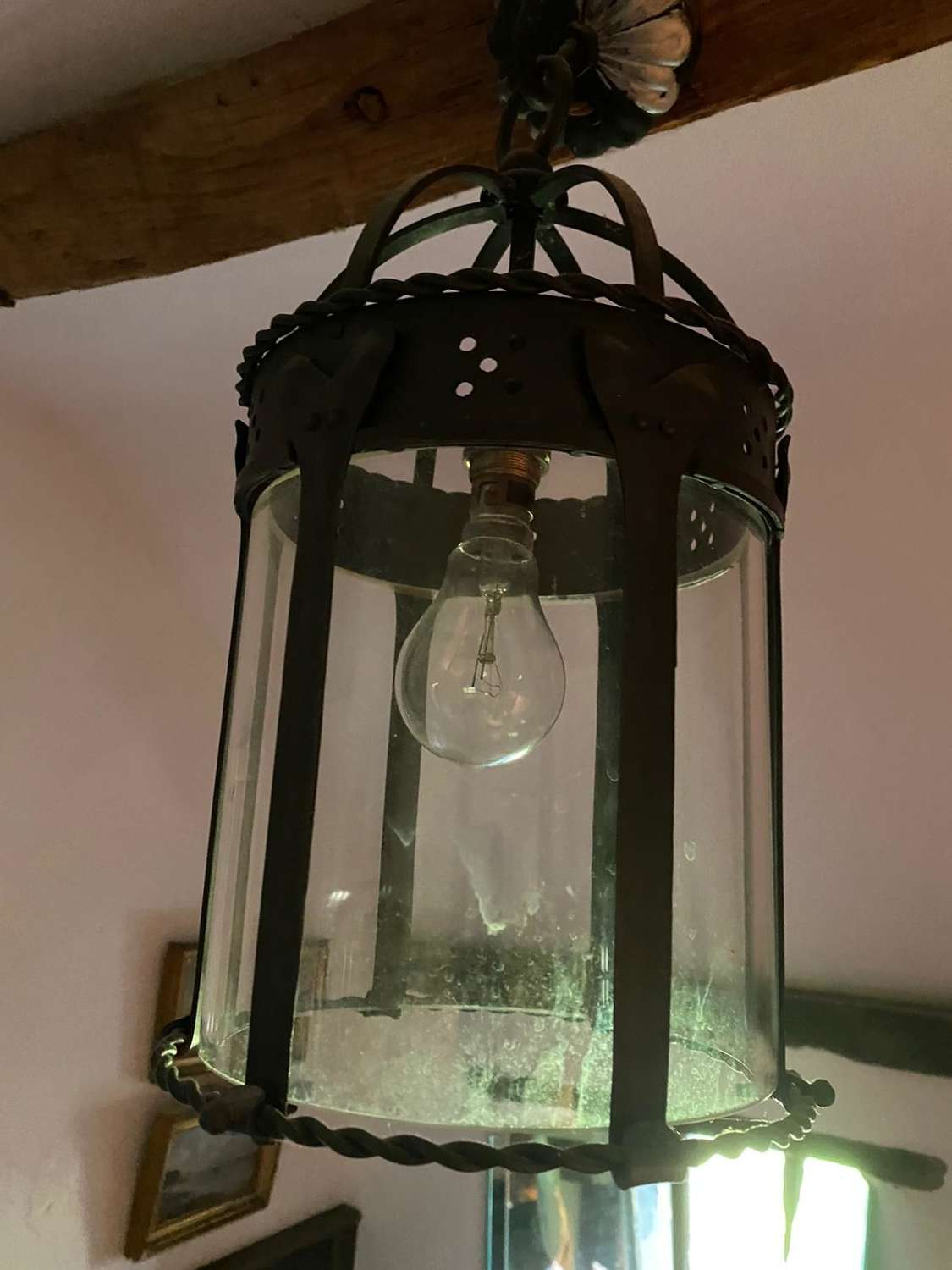 An arts and craft handwrought small lantern