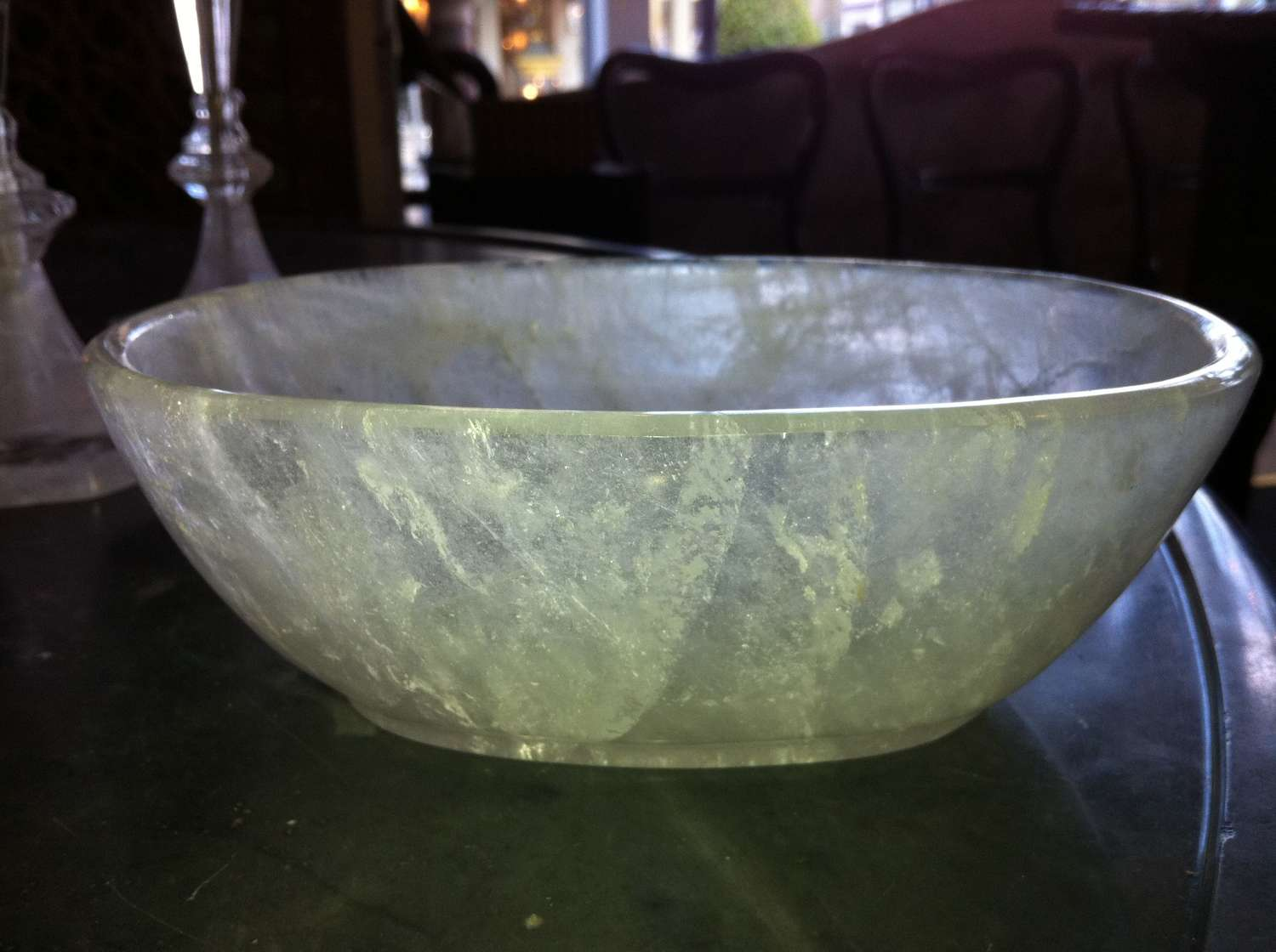 An oval rock crystal bowl early 20th century