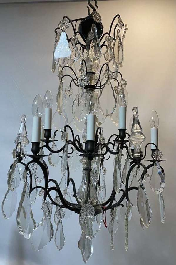 A French two tier bronze chandelier
