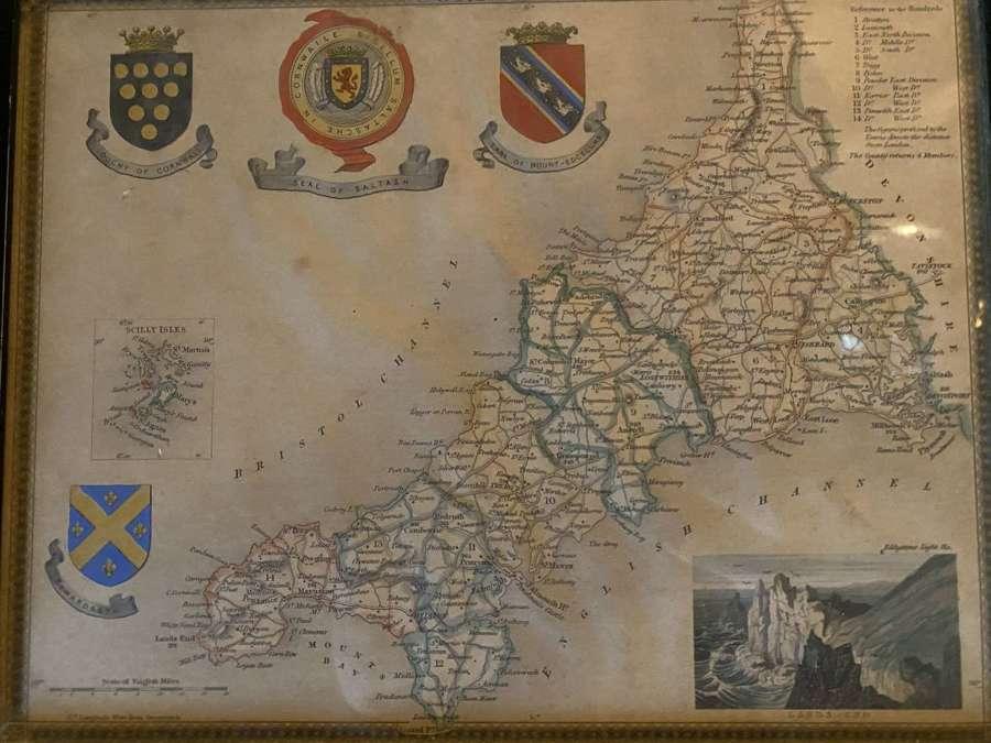 Printed map of Cornwall