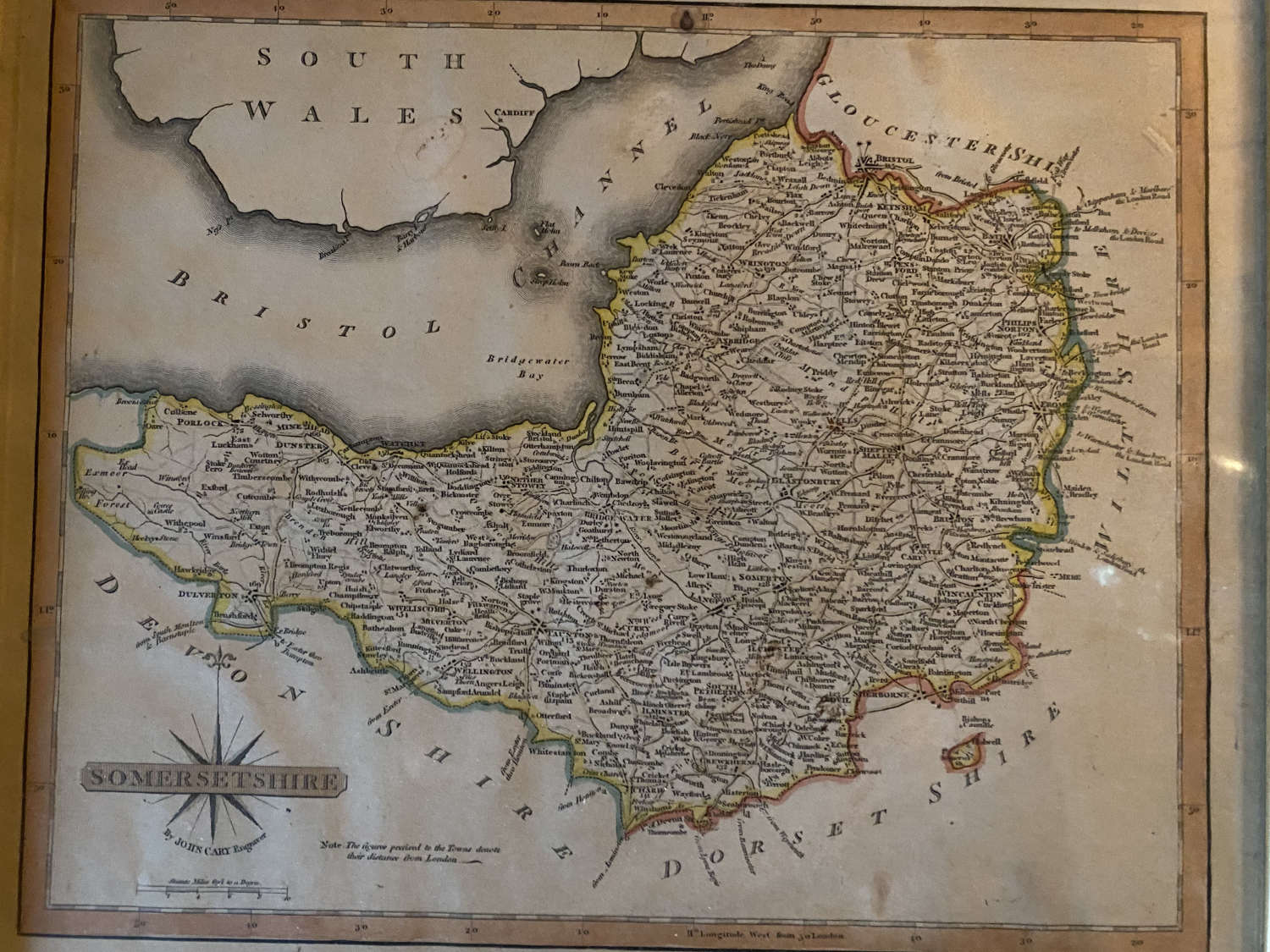 Print of a map of Somerset