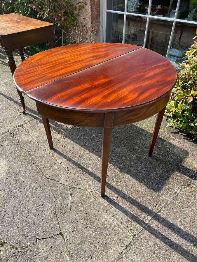 George the third mahogany Demilune tea table