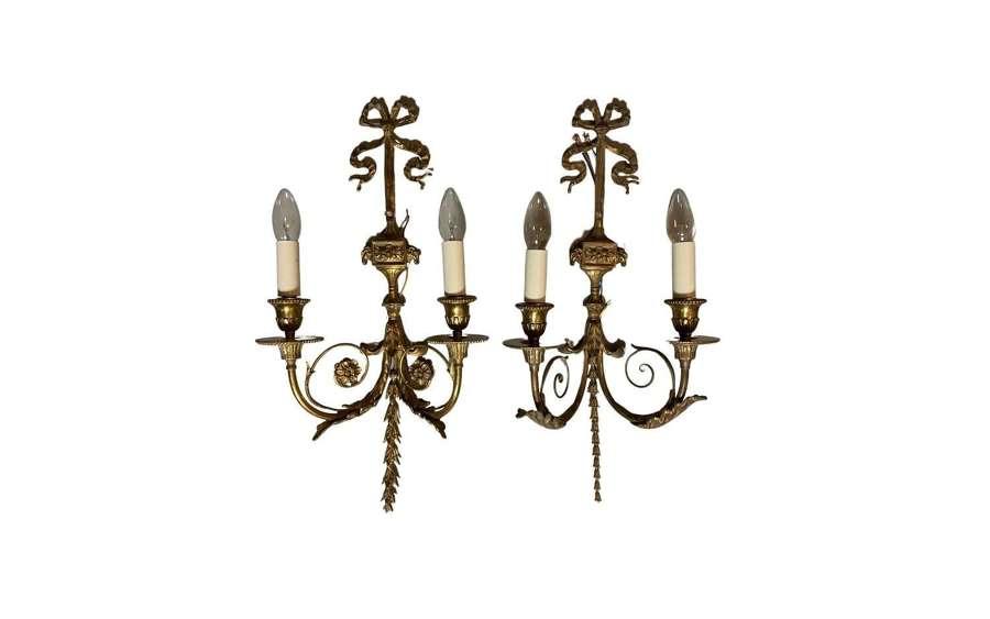 A set of five Adam style gilts brass wall lights