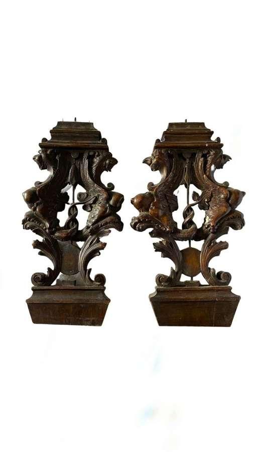 16th Century Venetian Italian Renaissance Carved Walnut Sgabello Backs