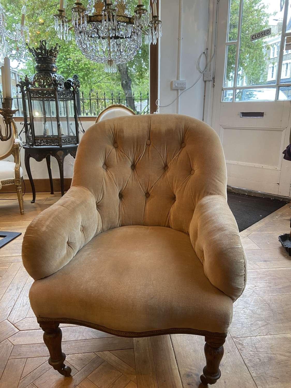 A champagne velvet button back armchair